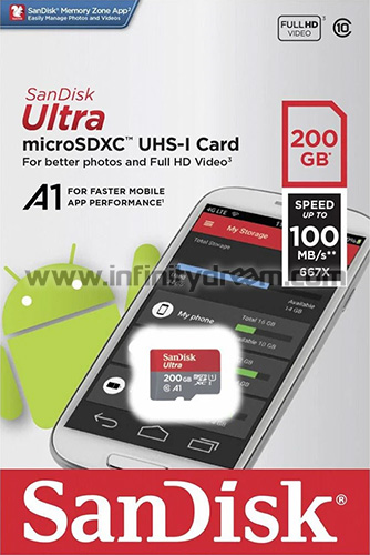 MicroSDXC 200GB SanDisk Ultra + SD Adapter - Class 10 (100MB/s)